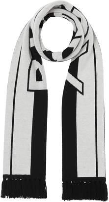 Burberry black and white logo cashmere scarf