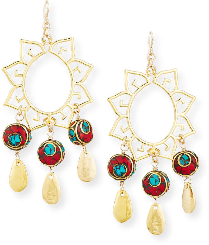 Devon Leigh Turquoise & Coral Sun Chandelier Earrings