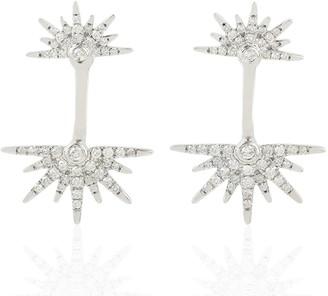 Artisan 18Kt White Gold Pave Diamond Starburst Shape Ear Jacket Women Earring