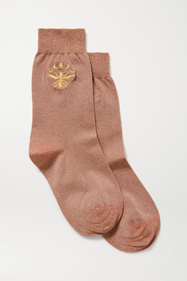Maria La Rosa Embroidered Metallic Stretch-knit Socks - Copper