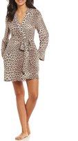 Betsey Johnson Leopard-Print Fleece Wrap Robe