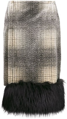 Marco De Vincenzo Faux-Fur Trim Check Skirt