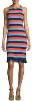 Tory Burch Ariana Sleeveless Striped Dress w/ Fringe, Red Canyon/Multi