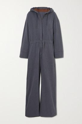 Brunello Cucinelli Oversized Hooded Cotton-blend Jersey Jumpsuit - Dark gray