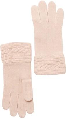 Portolano Cable Knit Cuff Cashmere Gloves