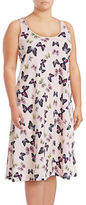 Lord & Taylor Plus Long Printed Sleeveless Chemise