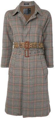 R 13 Double-Belt Check Trench Coat