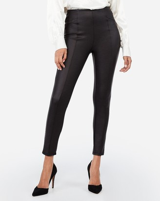 Express High Waisted Seamed Front Vegan Leather Leggings