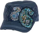 Crystal Case Womens Cotton Rhinestone Paisley Cadet Cap Hat