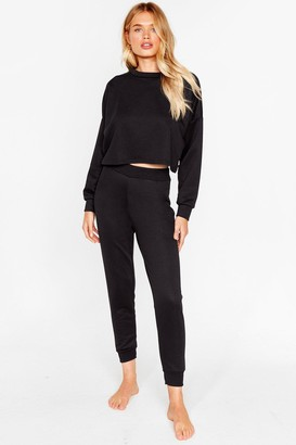 Nasty Gal Womens Work Things Out Sweater and Joggers Lounge Set - Black