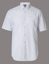 Autograph Pure Cotton Slim Fit Textured Shirt