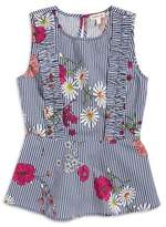 Monteau Girl's Floral Stripe Ruffle Top