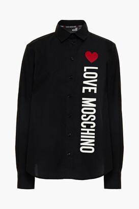 Love Moschino Appliqued Printed Cotton-blend Poplin Shirt