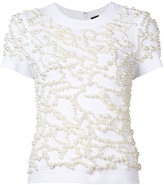 Vera Wang embroidered pearls T-shirt - women - Cotton/plastic - S