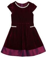 Rare Editions Girls 2-6x Pearl Trim Velvet Dress