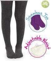 Jefferies Socks Big Girls' Seamless Organic Cotton Tights, Charcoal