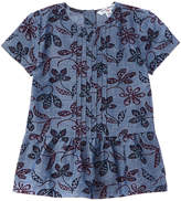 Brooks Brothers Girls' Chambray Floral Blouse