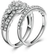 AmDxD Jewelry Plated Women Promise Customizable Rings Full of CZ Size 6.5,Engraving