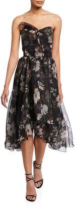 Shoshanna Haisley Floral Strapless High-Low Dress
