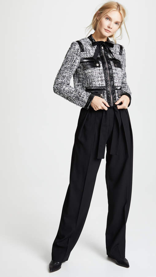 Giambattista Valli Leather Combo Tweed Jacket