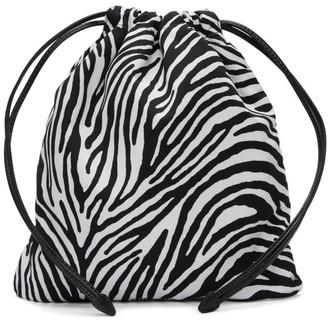 Miu Miu Black and White Zebra Printed Faille Pouch