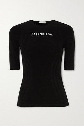 Balenciaga Printed Stretch-jersey Top - Black