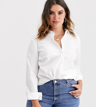 Asos DESIGN Curve long sleeve fitted shirt in stretch cotton in white