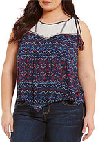 Democracy Plus Tie-Shoulder Spliced Yoke Hanky Hem Tank