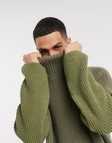 Asos Design DESIGN oversized funnel neck sweater in olive