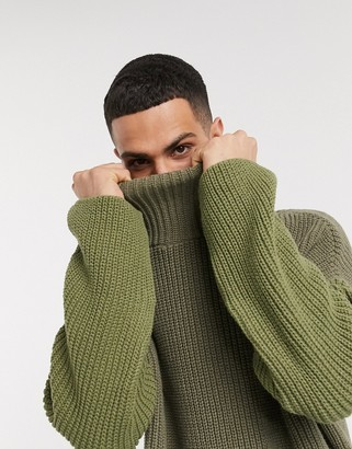 Asos DESIGN oversized funnel neck sweater in olive