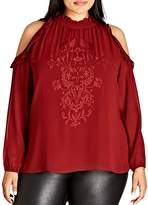 City Chic Cold-Shoulder Embroidered & Ruffled Top
