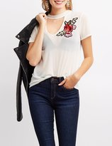 Charlotte Russe Floral Embroidered Mesh Choker Neck Cut-Out Tee