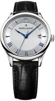 Maurice Lacroix Masterpiece men's black leather strap watch