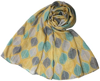 The Olive House Womens Leaves Floral Design Scarf Mustard