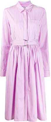 MSGM Striped Belted Shirt Dress