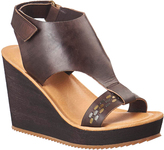 Antelope Coffee Embellished-Strap Leather T-Strap Sandal