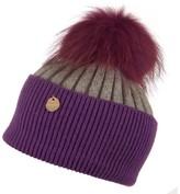 Popski London Vibrant Violet - Charcoal Grey Angora Fur Pom Pom Hat -