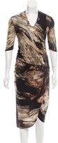 Helmut Lang Asymmetrical Wood Print Dress