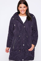 Yours Clothing Dark Purple Subtle Shine Parka Jacket With Hood