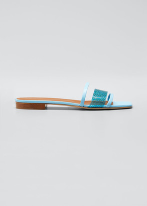 Malone Souliers Triple Strap Vinyl Flat Slide Sandals