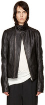 Rick Owens Black Leather Mollino Biker Jacket