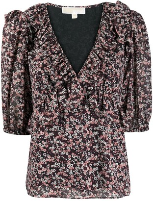 MICHAEL Michael Kors Floral-Print Ruffled Dress