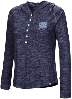 Colosseum Women's Navy North Carolina Tar Heels You Complete Me Henley Pullover Hoodie
