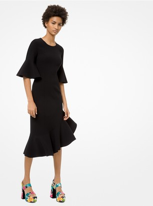 Michael Kors Double-Face Stretch Wool-Crepe Ruffle Dress