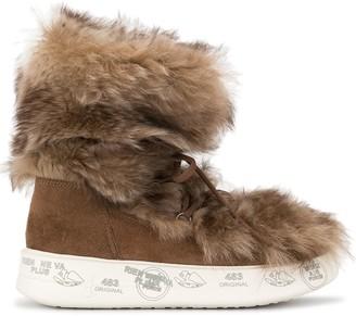 Premiata lace-up faux-fur boots