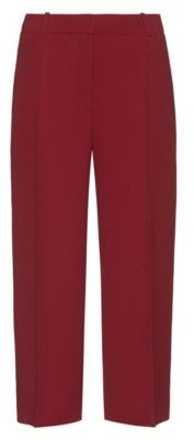 HUGO BOSS Wide Leg Cropped Pants With Crease Front - Light Red