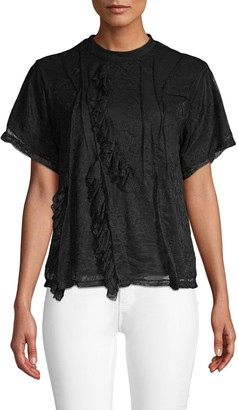 Divine Heritage Ruffle Lace T-Shirt