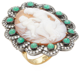 Artisan Emerald & 1.24 Total Ct. Diamond Mother & Child Cameo Ring