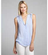 Wyatt skywalk blue woven sleeveless high-low blouse