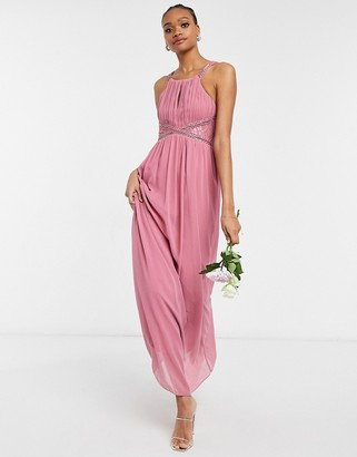 Little Mistress Bridesmaid chiffon maxi dress with embellishment and lace detail in dusky pink